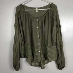 Free People Women's Top Olive Green Small Layered